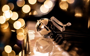 Picture balls, decoration, holiday, New Year, Christmas, golden, Christmas, plan, bokeh, New Year