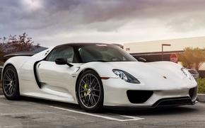 Picture Porsche, white, Spyder, 918