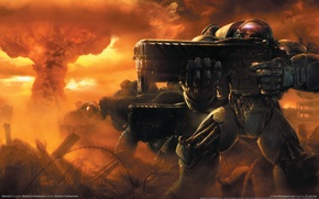 Wallpaper weapons, war, the city, starcraft 2, heroes