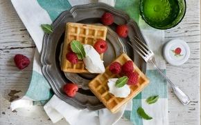 Wallpaper berries, raspberry, dessert, waffles