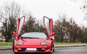 Picture door, red, lamborghini, red, diablo, Lamborghini, Diablo