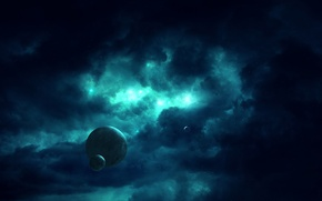 Picture space, stars, darkness, planet, dal