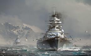 Picture The sky, Water, Clouds, Sea, Mountains, Wave, Smoke, Snow, Ship, Ships, Seagulls, Battleship, Bismarck, Wargaming …