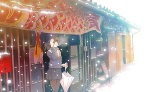 Picture cold, winter, girl, snow, umbrella, anime, art, couples, furai