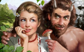 Picture girl, a couple, the devil, paganka