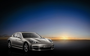 Wallpaper sunset, Porsche, silver