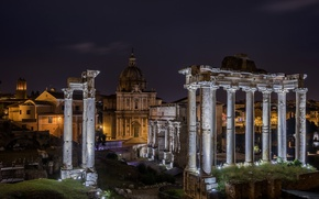Picture night, lights, Rome, Italy, columns, ruins, Forum, architeccture