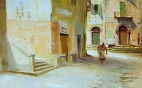Picture picture, the urban landscape, Edward Seago, A street in Argegno. Lake Como