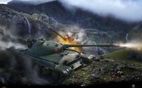 Wallpaper mountains, the explosion, rocks, fire, waterfall, shot, tank, gorge, Soviet, average, World of Tanks, Object ...