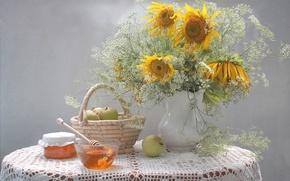 Picture sunflowers, apples, bouquet, honey
