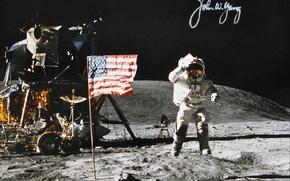 Picture space, Moon, NASA, history, astronaut, autograph, apollo-16