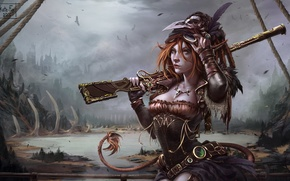 Picture clouds, bridge, the city, lake, necklace, tail, crows, hunter, Art, Katrin, women, musket, steampunk, Kate-FoX, …