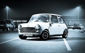 Picture night, Auto, White, Retro, the hood, Machine, Light, Lights, Mini Cooper, Parking, Parking, MINI, The …