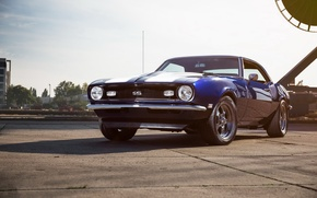 Picture Chevrolet, Camaro, Blue, White, 1968, Stripes