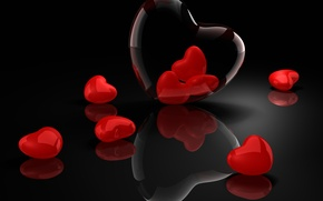 Wallpaper hearts, Valentine's day, reflection, black background