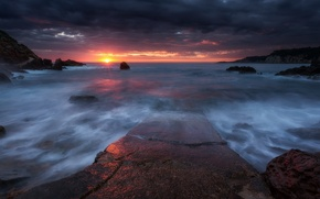 Picture beach, the sun, light, sunset, rocks, France, the evening, Sanary-sur-Mer, the Mediterranean coast