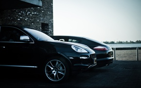 Picture black, Porsche, cayenne, Porsche, black, panamera, Panamera, Cayenne, building