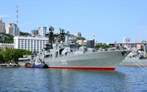 Wallpaper anti-submarine, Admiral Vinogradov, project 1155, large, ship, Vladivostok, Navy