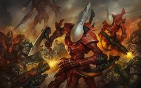 Picture Warhammer 40000, orcs, Orks, Eldar, Eldar, Warhammer 40K, Wraithguard, Ghost Guard, Ghost Warrior