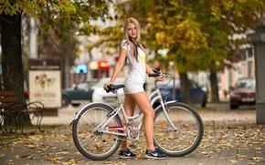 Picture look, girl, bike, city, portrait, tattoo, t-shirt, shorts, hip, sneakers, street, beauty, hair, Anton Pechkurov