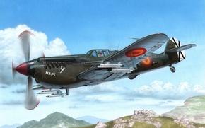 Picture war, art, airplane, aviation, paintin, Hispano HA 1112 M-1L Buchon