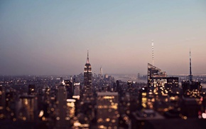 Wallpaper United States, twilight, sunset, New York, Manhattan, dusk, skyscrapers, cityscape, Gotham, Empire States Building, urban ...