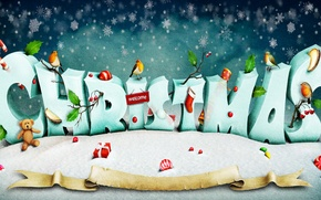 Picture snow, snowflakes, creative, holiday, the inscription, toys, bear, gifts, New year, birds, Christmas