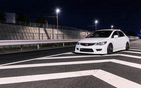 Picture white, wheels, honda, japan, jdm, tuning, civic, front, face, low, stance, mugen, type r, vtec