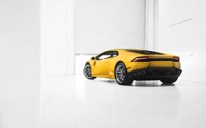 Picture Lamborghini, Car, Yellow, Photo, Supercar, 2014, Rear, Huracan, LP610-4