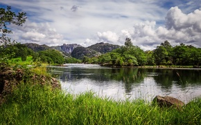 Picture Nature, Clouds, Mountains, Grass, Lake, Norway, Landscape, Egersund