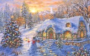 Wallpaper herringbone, new year, Christmas, night, winter