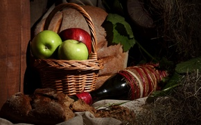 Picture photo, Bottle, Basket, Wine, Apples, Food, Bread