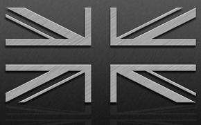Picture line, flag, UK, Texture, metallic