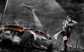 Picture machine, the sky, girl, clouds, rain, audi, helicopters, anime, art, phone