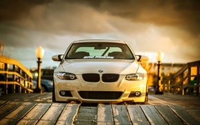 Picture BMW, white, wheels, tuning, front, E92