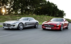 Picture The sun, Red, Road, Trees, Speed, Mercedes Benz, SLS AMG Desert, Silver