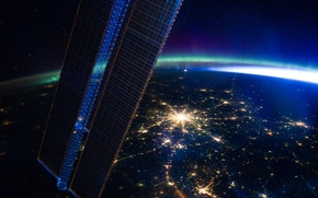 Picture lights, Earth, Moscow, ISS, The Pleiades, Polar lights