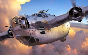 Picture figure, Liberator, B-24, Consolidated, American heavy bomber
