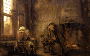 Picture picture, genre, Rembrandt van Rijn, Tobias and His Wife