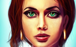 Picture face, hair, earrings, freckles, green eyes, Robert Jordan, Robert Jordan, The Wheel Of Time, The ...