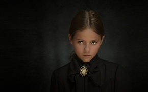 Picture sadness, background, portrait, girl, brooch