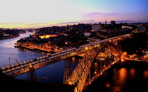 Picture sunset, bridge, the city, river, the evening, river, bridge, sunset, evening, Porto sense
