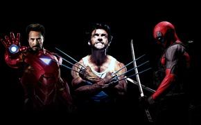 Picture iron man, deadpool, superheroes, Wolverine, Logan, Tony stark