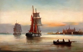 Picture sea, the sky, landscape, the city, people, castle, boat, ship, picture, sails, Alfred Jansen