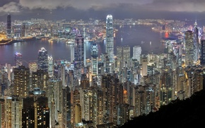 Picture night, building, Hong Kong, skyscrapers