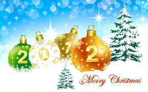 Wallpaper the sky, snow, holiday, balls, tree, tree, new year, 2012, happy new year, merry christmas, ...