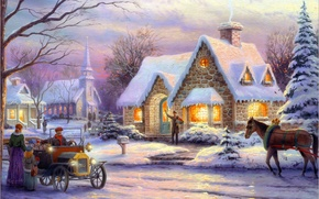 Picture winter, machine, retro, people, horse, horse, tree, room, Christmas, tree, town, box, painting, Christmas, art, ...
