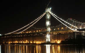Picture reflection, night, bridge, city, CA, Bay, San Francisco, USA, USA, bridge, night, California, San Francisco