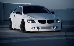 Picture roof, white, bmw, BMW, Parking, white, front view, e63