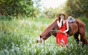 Picture girl, nature, horse, horse, hat, dress